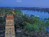 page 1 of 2 page spread. Waikerie Ferry Crossing at Dusk, Waikerie look out tower view.